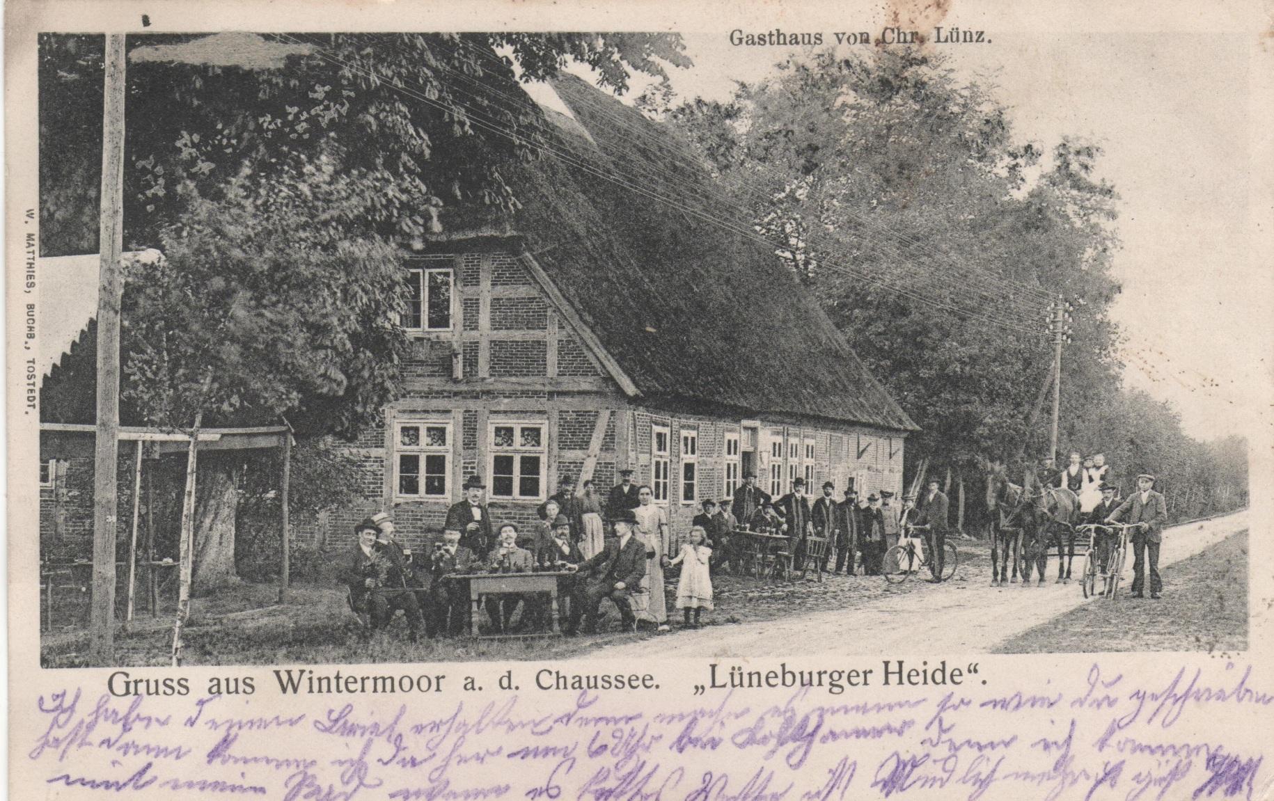 Ansichtskarte Gasthaus Lünz Wintermoor vor 1905
