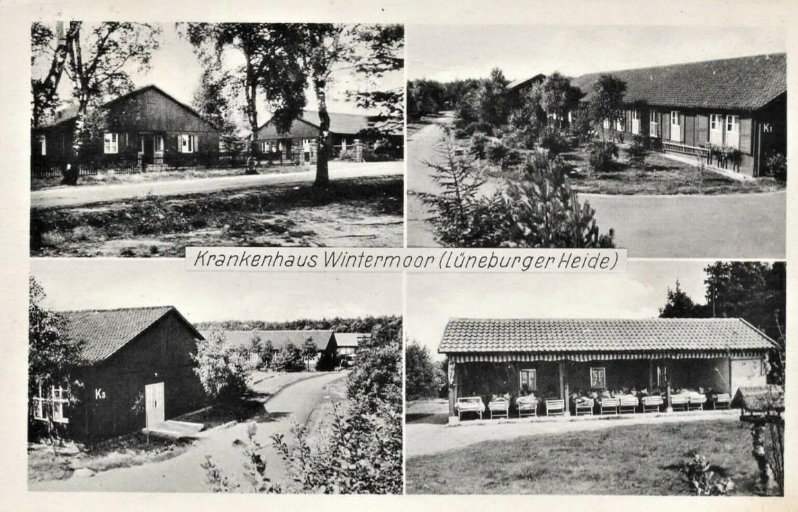 Ansichtskarte Krankenhaus Wintermoor mit Liegehalle um 1953