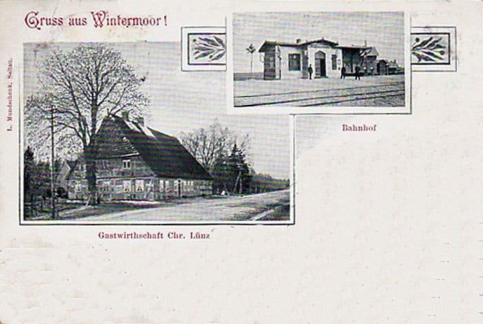 Gruß aus Wintermoor - Bahnhof und Gasthaus Lünz, Ansichtskarte 1902