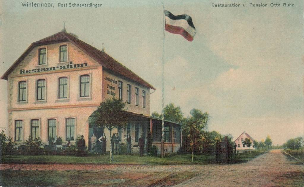 Pension Otto Buhr - nachkolorierte Postkarte von 1906 (recht nach hinten befindet sich die heutige Poststraße)