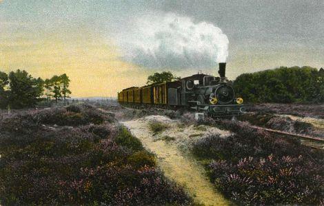Ansichtskarte Heidebahn zwischen Holm und Wintermoor mit Dampflok um 1910
