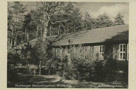 Behandlungshaus im Hamburger Gesundungshaus Wintermoor Ansichtskarte etwa 50erJ