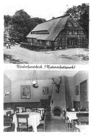 Heidekrug Wilh. Menke in Niederhaverbeck - Ansichtskarte von Rud. Reher Verlag um 1954