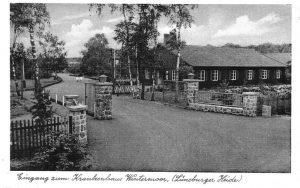 Eingang zum Krankenhaus Wintermoor (ENDO-Klinik) im Jahr 1952 (Ansichtskarte Verlag Rud. Reher Hamburg)