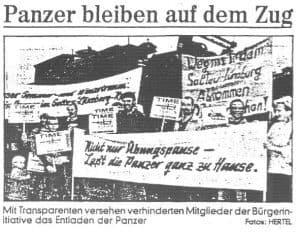 Zeitungsartikel Panzer bleiben auf dem Zug, aus 200 J. Colonie Wintermoor