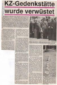 Heidekurier vom 14.11.1993: KZ-Gedenkstätte wurde verwüstet