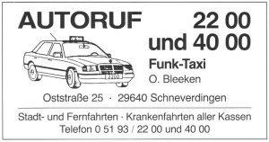 Anzeige Taxi Bleeken aus 200 J Colonie Wintermoor