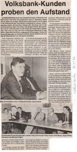 Heidekurier vom 20.11.1994: Volksbank-Kunden proben den Aufstand. Die Veröffentlichung erfolgt mit freundlicher Erlaubnis vom 10.11.2016 durch AM-Verlag Andreas Müller KG, Soltau.