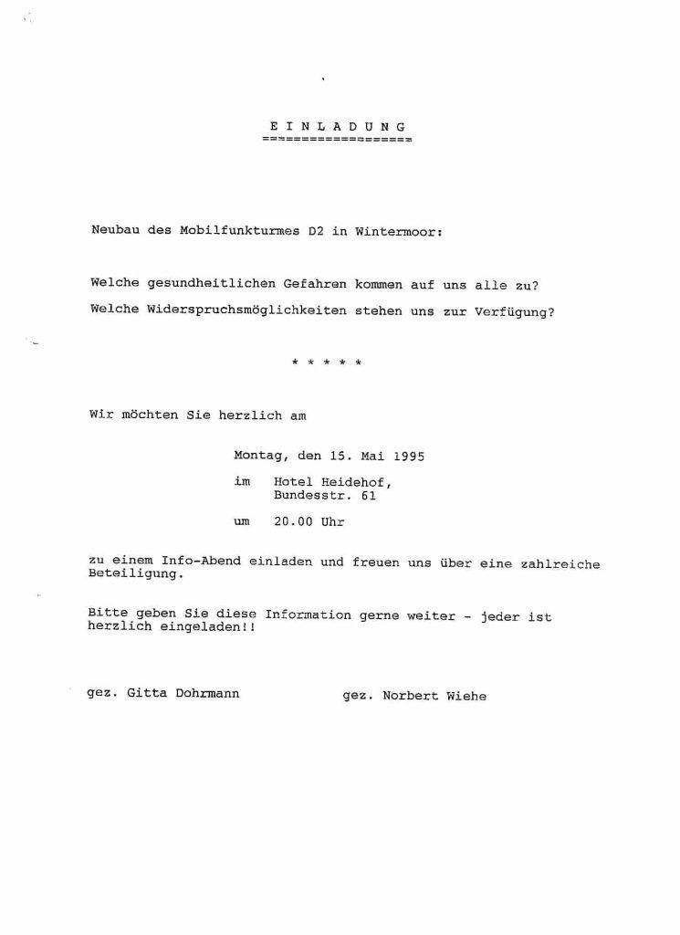 Infozettel von 1995 über Mobilfunkturm in Wintermoor