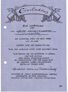 Einladung zur Eröffnung des Natursteingartens Wintermoor am 18.7.1998