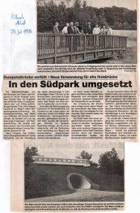 Mittwoch aktuell vom 29.7.1998: In den Südpark umgesetzt