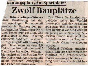 Böhme-Zeitung vom 07.12.1998: Zwölf Bauplätze