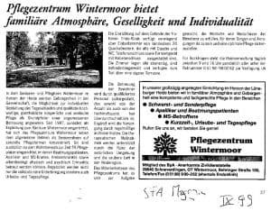 SFA-Magazin vom 9. Septeber 1999, S. 27 (uh): Pflegezentrum