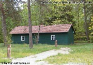 Die letzte, fast noch original erhaltene Baracke des Waldkrankenhauses Wintermoor (Foto: Michael Grube, www.geschichtsspuren.de)