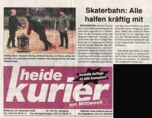 Heidekurier vom 22.12.2002: Skaterbahn Alle halfen kräftig mit. Die Veröffentlichung erfolgt mit freundlicher Erlaubnis vom 10.11.2016 durch AM-Verlag Andreas Müller KG, Soltau.