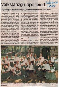 Heidekurier vom 1.8.2004: Volkstanzgruppe feiert.