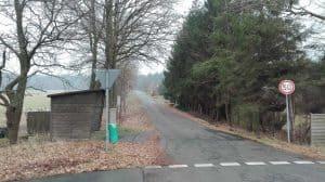Blick von der B3 in die Waldsiedlung Wintermoor, Januar 2017
