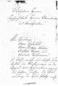 Gründungsdokument von Geversdorf - aus Chronik 200 Jahre Wintermoor-Geversdorf