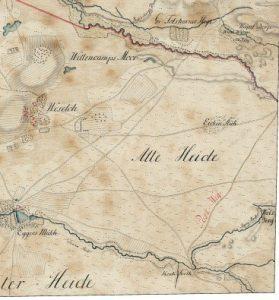 Postweg auf der Kurhannoversche Landesaufnahme von 1770 -Lauenbrück_HL029, Quelle: Auszug aus den Geobasisdaten der Niedersächsischen Vermessungs- und Katasterverwaltung, LGLN (www.lgln.de)