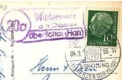 Poststempel Station 20a Wintermoor im Jahr 1958