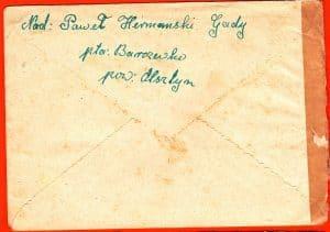 Rückseite des Briefs aus Barczewko an Erich Schuhmann, 1955 geöffnet von der Zensur.jpg
