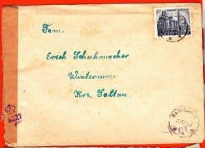 Vorderseite des Briefs aus Barczewko an Erich Schuhmann, 1955 geöffnet von der Zensur