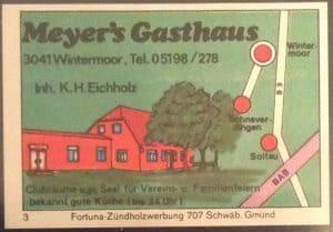 Streichholzbriefchen Meyer's Gasthaus, Wintermoor, Inh. Eichholz