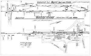 Gleisplan Übersicht vom Bahnhof Wintermoor und Barrl, S. 218 aus Die Heidebahn - Dierk Lawrenz u. Lothar Eichmann