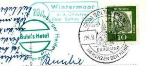 Stempel Posthilfsstelle Buhrs Hotel in Wintermoor 1961