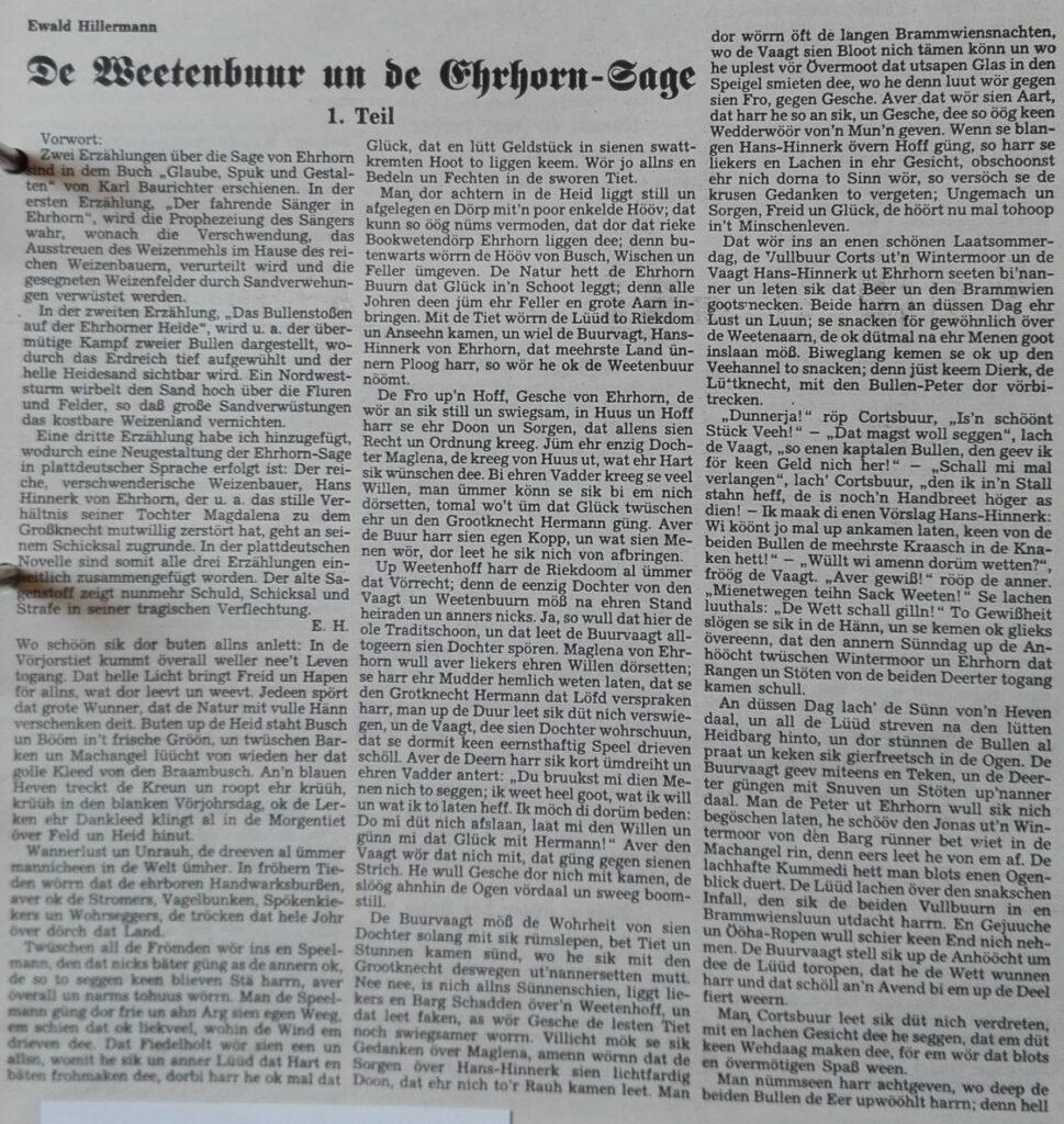 1 Der Niedersachse 2-1991 - De Beetenbuur un de Ehrhorn-Sage Teil 1-1