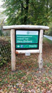 Schild Waldpädagogikzentrum Haus Ehrhorn 2018